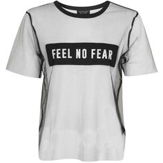 Topshop Feel No Fear Tulle T-Shirt (47 BRL) ❤ liked on Polyvore featuring tops, t-shirts, overlay top, white tee, white top, white t shirt and topshop tops