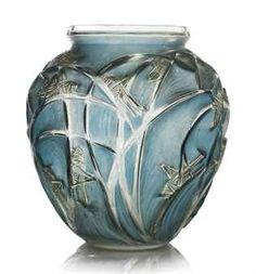SAUTERELLES VASE, NO. 888   designed 1912, clear and frosted with blue and green staining engraved R. Lalique France No. 888 27 cm. high