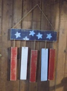 Simple rustic primitive Americiana style FLag Hand Painted in Distressed Red White and Blue. With Wire for hanging Great for Mantle, Table Top, Porch, Etc. 4th of July , Memorial Day, Labor Day and Al