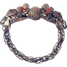 SO RARE Chinese Export Silver/Coral Double Dragon Bracelet, c.1850!