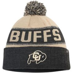 57912589c37 Colorado Buffaloes Top of the World Below Zero Cuffed Pom Knit Hat - Vegas  Gold Heather Black