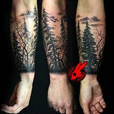 tree silhouette forest pine arm sleeve tattoo by Jackie Rabbit | by Jackie rabbit Tattoos