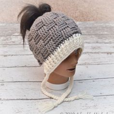 Messy Bun Beanie Messy Bun Hat Ponytail Hat MADE by AdorablyHooked