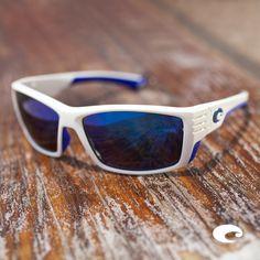 c241dd11a468 Cortez/ White with Blue Logo/ Blue Mirror/ 580G Lens And Frames, Polarized. Costa  Del Mar
