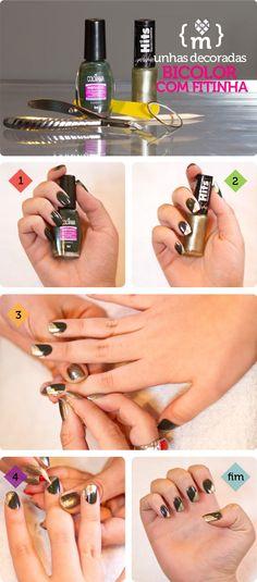 Unhas decoradas: tutorial de como fazer o efeito bicolor com fitinha | Blog das Editoras de Beleza