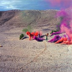 The AR piece virtually recreates the effects of her Atmospheres series from the late 1960s, which saw her adorn the Californian landscape with multi-coloured clouds of smoke and fireworks. Nan Goldin, Yayoi Kusama, Miami, Op Art, Collage, Judy Chicago, Institute Of Contemporary Art, Colored Smoke, Chicago Artists
