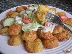 Zemiakovo syrové smažienky so zeleninovým šalátom Tandoori Chicken, Ham, Potato Salad, Food And Drink, Mozzarella, Cooking, Healthy, Ethnic Recipes, Funguje To