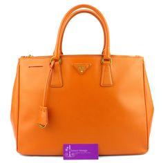 Prada Lux M Orange Colour Saffiano Leather Gold Hardware Good Condition Price- RM3xxx Ref.code-(KTLS-3) More Information Pls Email  (- luxuryvintagekl@ gmail.com