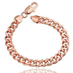 Rose Gold Polished Chain Twist Lobster Clasp Cuff Bracelet Christmas Plating Hand Gift for Women Girl >>> You can get more details by clicking on the image.