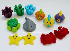 12 Edible Fondant Sea Creatures cupcake / cake Topper for Under the sea themed party on Etsy, $28.00