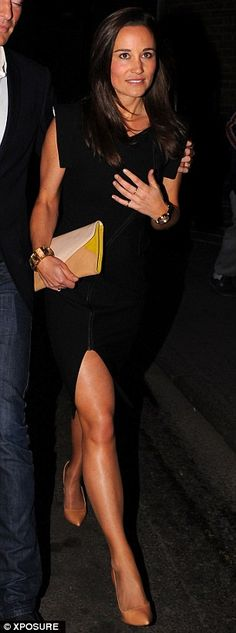 Showing some leg: Pippa ditched her usual knee-length style to show off some thigh  Read more: http://www.dailymail.co.uk/tvshowbiz/article-2328874/Pippa-Middleton-steps-glamour-leggy-black-dress-parties-brother-Jamess-new-girlfriend-Donna-Air.html#ixzz2U2wsdBv7  Follow us: @MailOnline on Twitter | DailyMail on Facebook