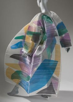 """Issey Miyake, """"Pao Coat,"""" spring/summer Los Angeles County Museum of Art, gift of Cindy Canzoneri, ©Issey Miyake. Fashion History, Fashion Art, Vintage Fashion, Fashion Images, Fashion Styles, Street Fashion, Japanese Fashion Designers, Textiles, Weird Fashion"""