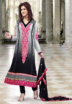 Shaded Grey and Black Faux Georgette Churidar Kameez Online Shopping: KJL20