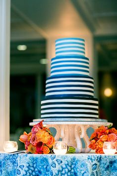 Blue and white striped, ombre wedding cake