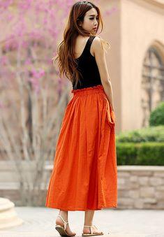 Orange skirt woman linen skirt custom made maxi skirt by xiaolizi