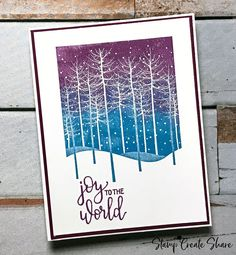 Winter Trees Flat Card - Stamping Made Simple Christmas Cards 2018, Xmas Cards, Atc Cards, Greeting Cards, Paper Butterflies, Butterfly Cards, Watercolor Christmas Tree, Christmas Paper Crafts, Thing 1