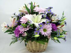 Pink, white & purple floral basket.  Great way to say thank you!