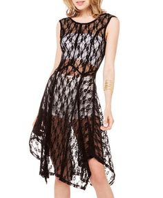Sleeveless Round Neckline Lace Perspective Dress
