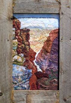 Grand Canyon Vista     Original Landscape Quilt, Watercolor Quilt
