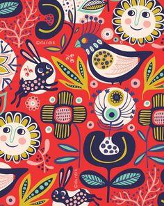 Helen Dardik - orange you lucky!Very cool illustrations here. Motif Vintage, Vintage Prints, Vintage Pattern Design, Surface Pattern Design, Pattern Art, Pattern Fabric, Fabric Design, Textile Patterns, Print Patterns