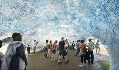 This plastic bottle cloud in New York City is an art installation which represents just one hour's worth of bottles thrown away in the city