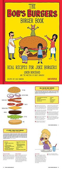 The Bob's Burgers Burger Book: Real Recipes for Joke Burgers Bobs Burgers Recipes, Bobs Burgers Gifts, Bobs Burgers Funny, Burger Recipes, Bob's Burgers Merchandise, Burger Party, Bob S, Party Ideas, Gift Ideas
