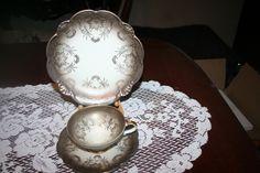 "Vintage Alka Kunst Bavaria Ornate Scallop Edge China 3 Piece Trio Set ""Josefine""  $38-"