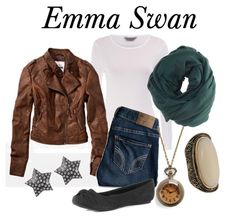 "OUAT: ""Emma Swan (Snow White's Daughter) plays the savior in this show. She also becomes the Deputy for Storybrook. As such, her wardrobe is simple: She usually wears her trusty leather jacket, a white t-shirt/tank, and a nice pair of jeans. Don't be fooled by the simple pieces, though – her style isn't boring! Accessories make all the difference here: I used a green scarf, watch necklace, ring, and star earrings to spruce up this look. Then, for your hair, just curl it all over and tousle."""