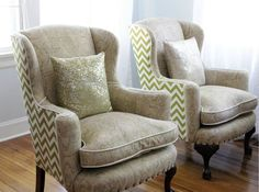 Reupholstered wingback chairs -- I love these with the two different fabrics.
