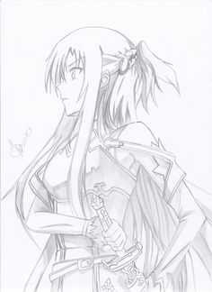From the Sword Art Online world Anime Drawings Sketches, Pencil Art Drawings, Anime Sketch, Manga Drawing, Manga Art, Sword Art Online Drawing, Sword Art Online Kirito, Schwertkunst Online, Kirito Asuna