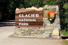 Picture of Glacier National Park's west entrance sign Glacier Montana, West Glacier, Glacier Park, Montana National Parks, Yellowstone National Park, Park Signage, Salon Signs, Entrance Sign, Ideas