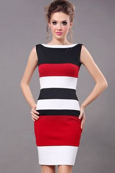 Color Block Sleeveless Bodycon Dress - OASAP.com
