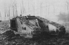 """apostlesofmercy: """" A British Mk IV Tadpole tank somewhere on the Western Front - date and location unknown. This bizarre variant featured a large extension of the tracks aft, between which sat a small deck and 3.2 inch Stokes trench motor. """""""