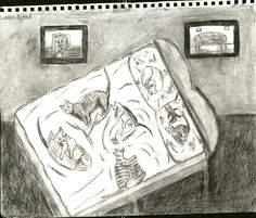 13 Cats Charcoal Drawing