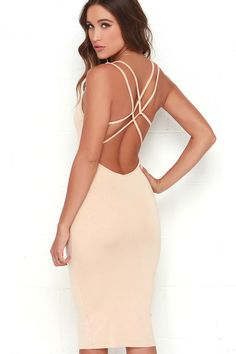 From New York to the bay, the Jersey Girl Beige Backless Midi Dress is every midi-lovers dream! The softest rayon-spandex jersey knit forms a sleeveless, tank-style bodice with scoop neck, and a network of spaghetti straps that cross over the open back. A sexy bodycon fit travels into a sleek midi skirt.