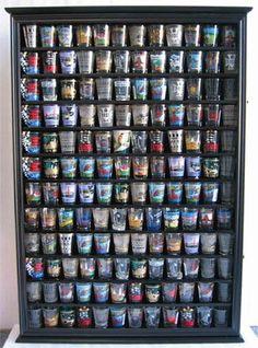 144 Shot Gl Display Case Holder Cabinet Shadow Box Hinged Door