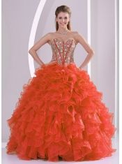 Classical Ball Gown With Sweetheart Ruffles and Beaded Decorate In Coral Red For Quinceanera Dresses