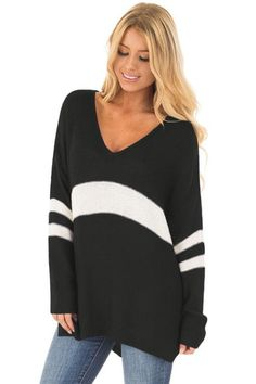 Ready to ship: Chicloth White St.... http://chicloth.com/products/chicloth-white-strip-black-v-neck-sweater?utm_campaign=social_autopilot&utm_source=pin&utm_medium=pin