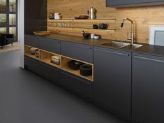 Modern Kitchen Interior Remodeling - Since cabinets are indeed a significant part your kitchen, then it's certainly important that you make a suitable aesthetic by selecting a perfect style for the region. Kitchen cabinets are i… Grey Kitchen Interior, Grey Kitchen Designs, Modern Kitchen Interiors, Modern Kitchen Design, Home Decor Kitchen, Modern House Design, Kitchen Ideas, Kitchen Layout, Kitchen Inspiration
