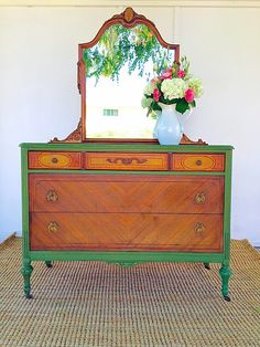 Isn't this dresser shared by DD of DD's Cottage & Design so striking?! I love the way the honey color of the mirror and drawer-fronts plays with the vivid green. This is a great way to give a dresser a new look, while still showing off some of the original wood detail.