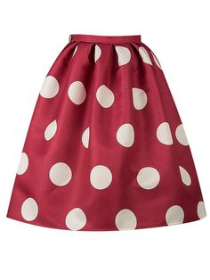 c57c28ff8b609c Choies Women Polyester Red Polka Dot Mid Waist Sliky Skater Skirt Large at Amazon  Women's Clothing store: