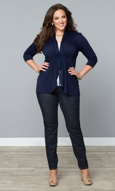 66919b4dfe8 Our plus size Sunset Stroll Bellini in a classic navy is the perfect  cardigan for white jeans. Browse more made in the USA styles at  www.kiyonna.com.