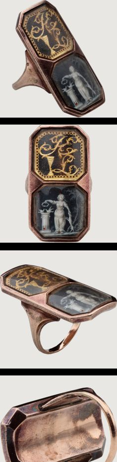 MEMORIAL RING WITH REBUS.  France, c. 1770-1790 Rose gold.