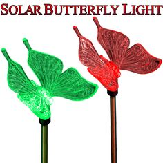 Solar Garden Light Color Changing Butterfly For Garden Decoration. It consists of 2 beautifully designed butterflies molded in Acrylic and it automatically changes colors every few seconds. It consists of 7 gorgeous colors which gives rainbow spectrum of colors to your garden. It consists of built-in solar panel that recharges the light during day and automatically turns ON at night. This would be a beautiful addition to your garden.