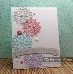 handmade thank you card by AmyR (Die-namics | Mini Delicate Doilies Dies) .... sweet little die cut doilies in pastel colors forma a column ... coordinating enamel dots ... pretty card!! ... My Favorite Things