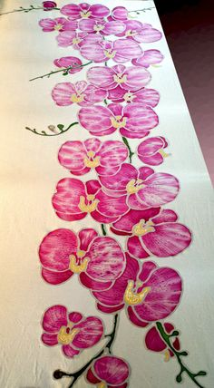 Hand painted silk scarf Tender Orchids flower di JoannaArtDesign