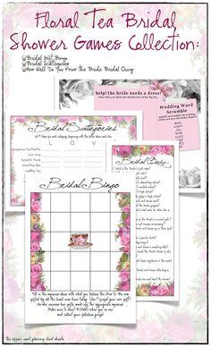 Floral Tea Bridal Shower Games Package  DIY by TheAffairShop, $12.50