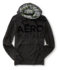 Aeropostale mens long sleeve linear aero hooded tee shirt.