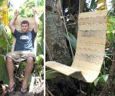 DIY Möbel aus Europaletten – 101 Bastelideen für Holzpaletten - DIY Möbel aus Europaletten schaukel stuhl baum  garten