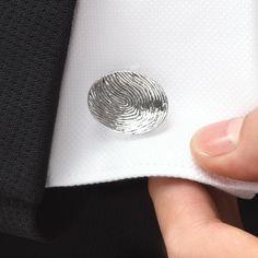 "Fingerprint cufflinks. ""I'll always be by your side"""